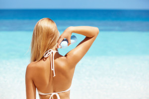 Create your own hair SPF by mixing sunscreen and water into a spray bottle.